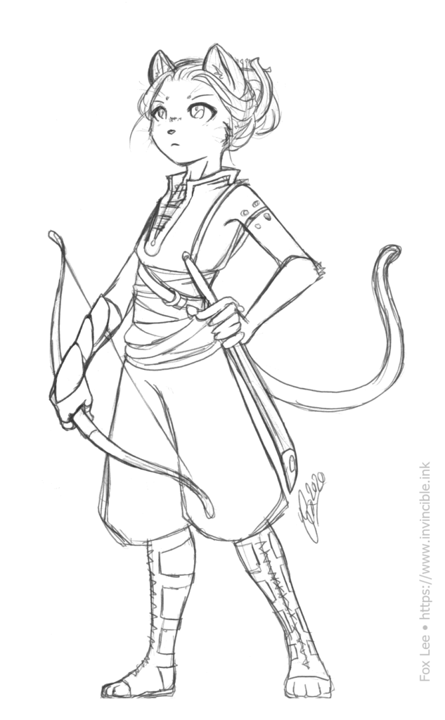 Sketch of a typical abilen, wearing light armour and carrying a shortbow and short sword